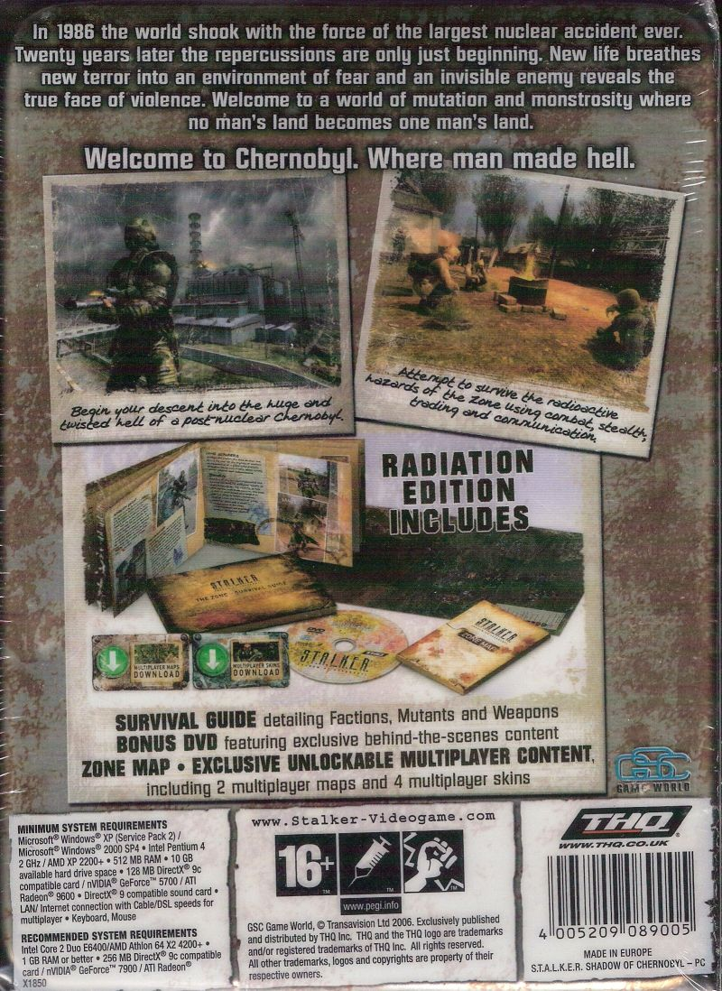 S T A L K E R Shadow Of Chernobyl Limited Edition