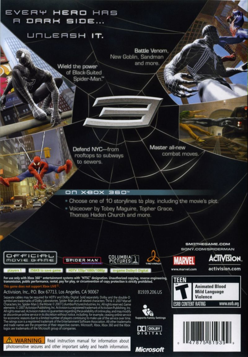spider-man 3 (2007) playstation 3 box cover art - mobygames