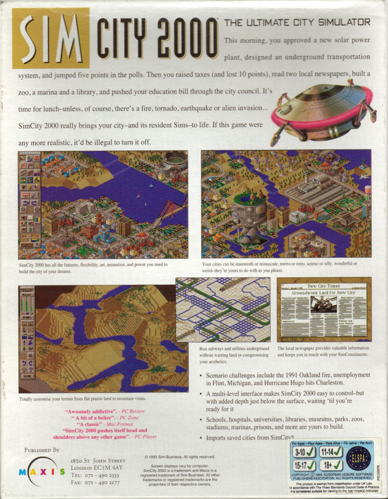 SimCity 2000 Amiga Back Cover