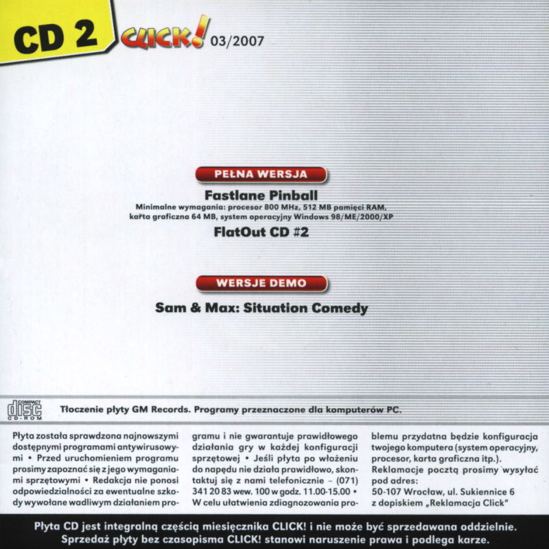 FlatOut Windows Back Cover Disc 2