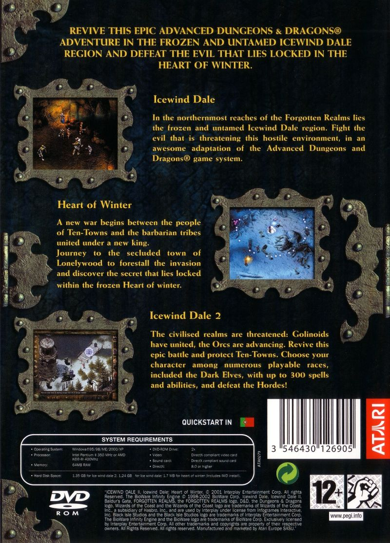 Icewind Dale: 3 in 1 Boxset Windows Back Cover