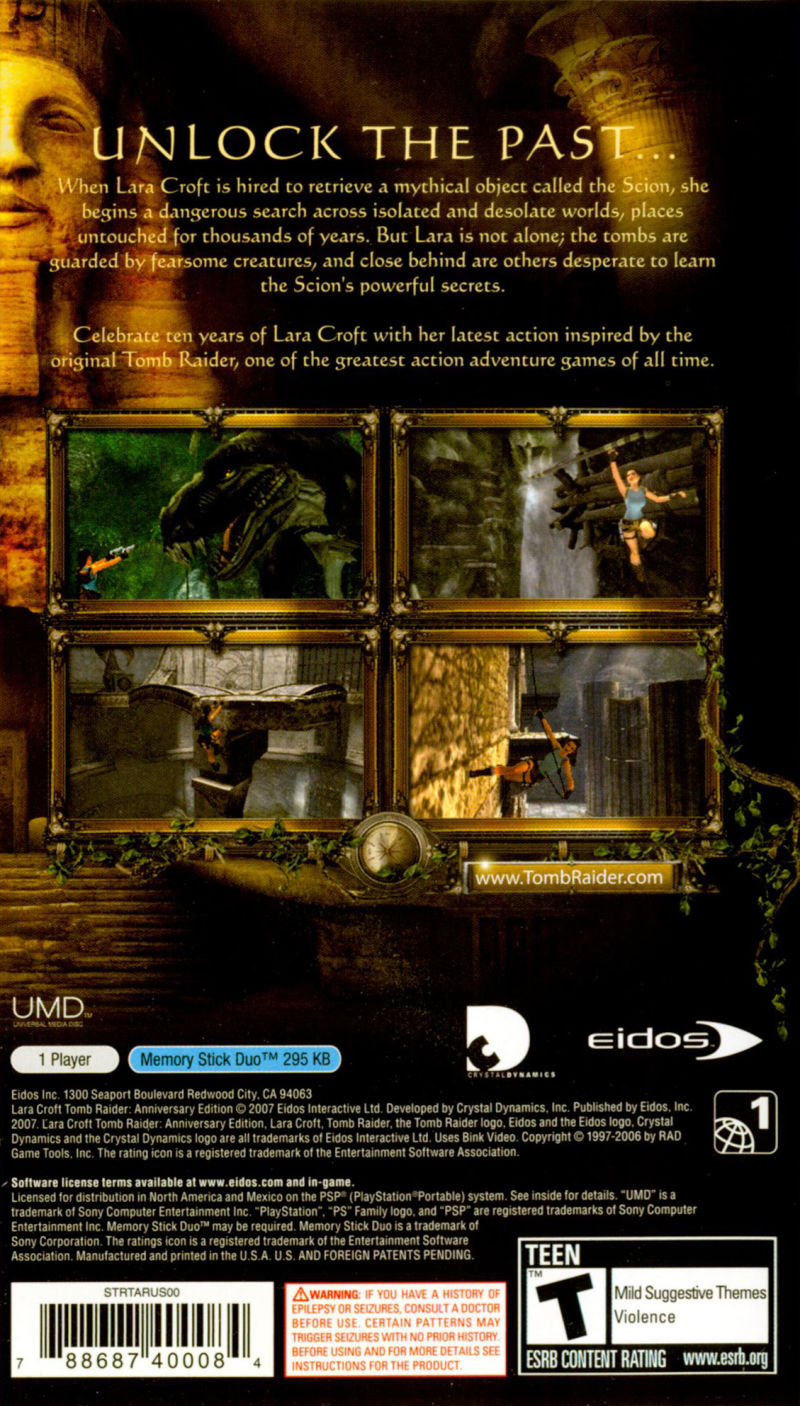 Lara Croft Tomb Raider: Anniversary PSP Back Cover