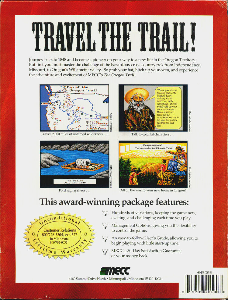 The Oregon Trail DOS Back Cover