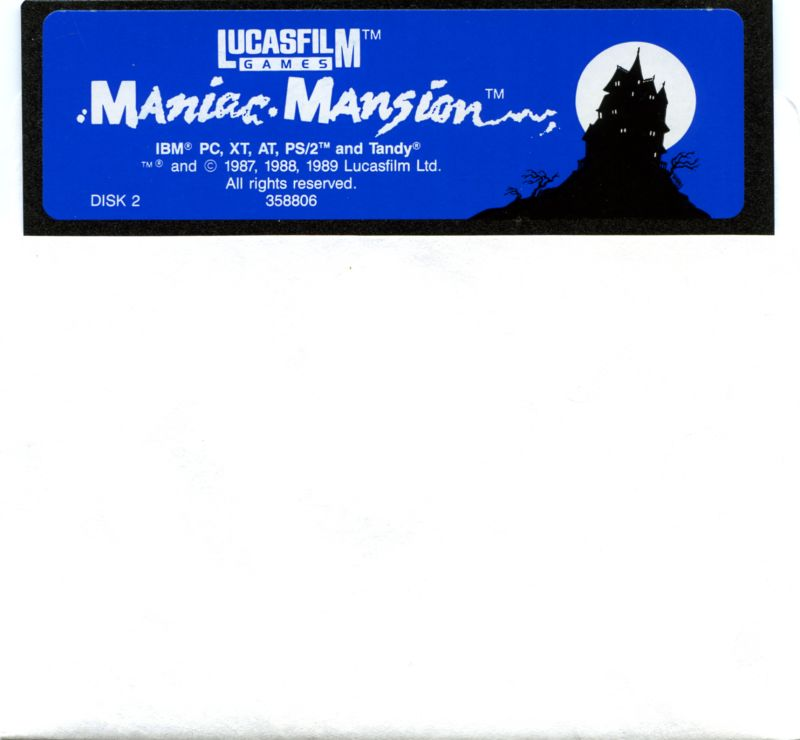 "Maniac Mansion DOS Media 5.25"" Floppy 2/2"