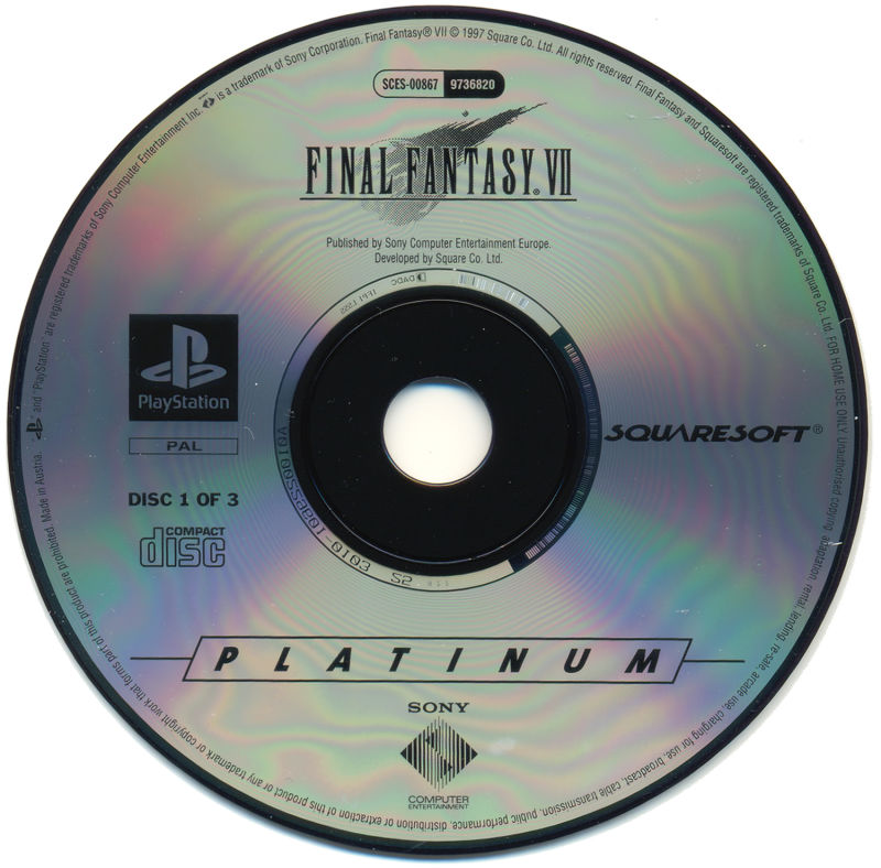 Final Fantasy VII PlayStation Media Game disc 1/3