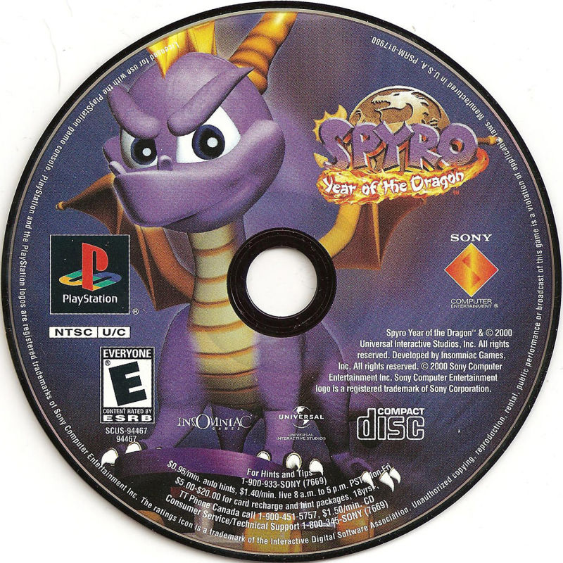 spyro  year of the dragon  2000  playstation box cover art