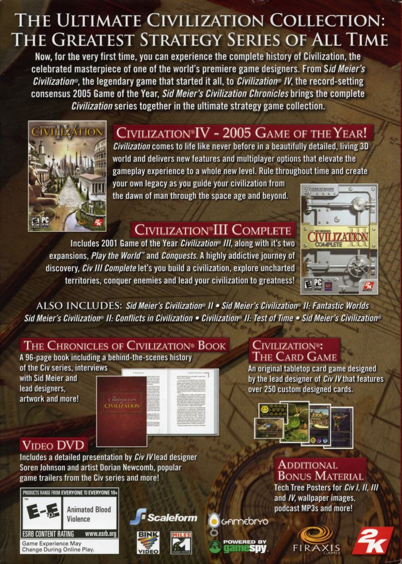 Sid Meier's Civilization Chronicles Windows Back Cover