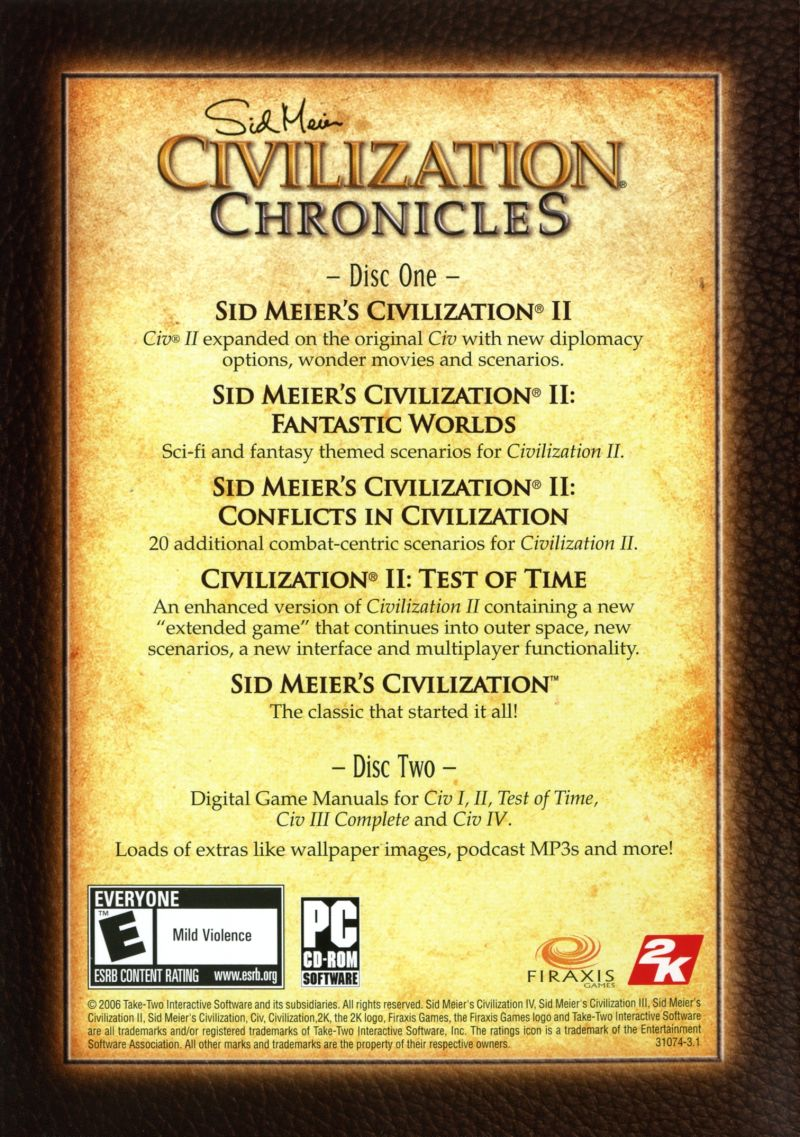 Sid Meier's Civilization Chronicles Windows Other Civilization I & II Keep Case - Back