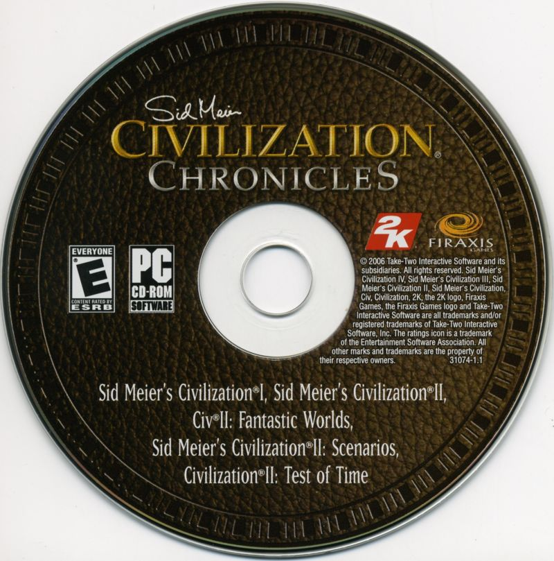 Sid Meier's Civilization Chronicles Windows Media Civilization I & II Disc