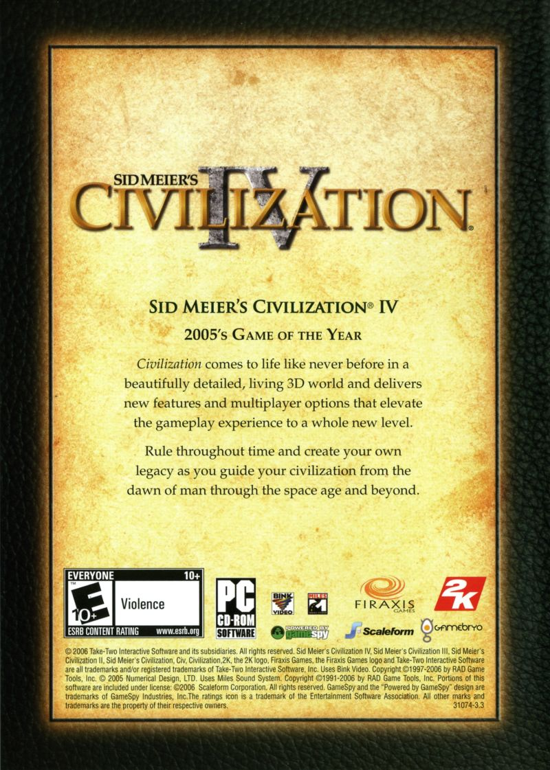 Sid Meier's Civilization Chronicles Windows Other Civilization IV Keep Case - Back
