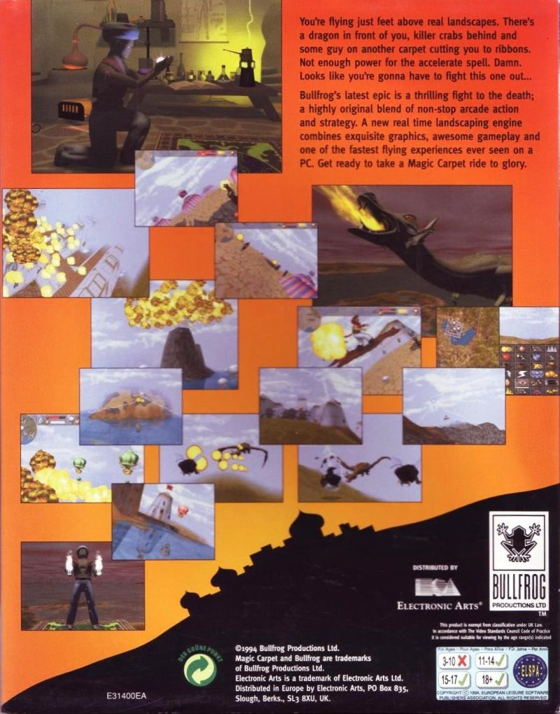 Magic Carpet DOS Back Cover