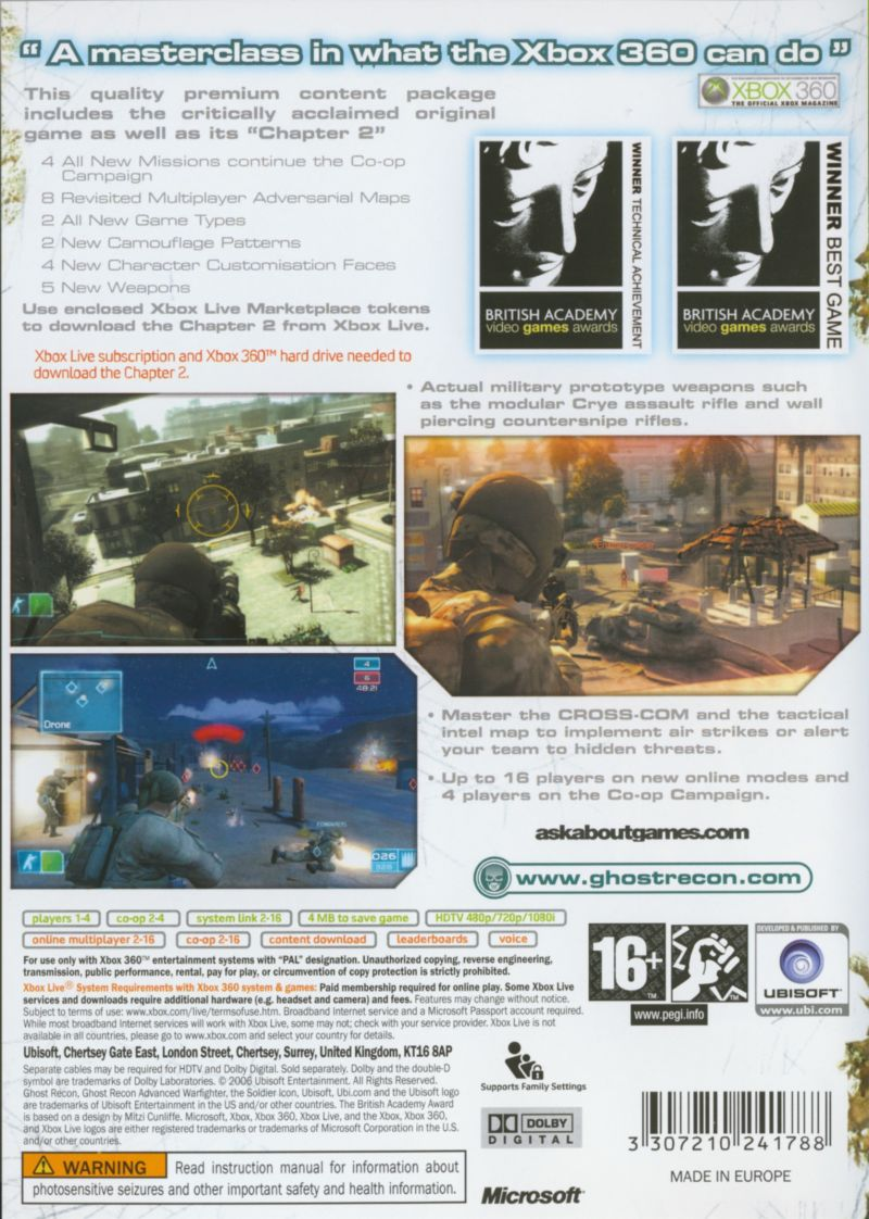 Tom Clancy's Ghost Recon: Advanced Warfighter (Premium Edition) Xbox 360 Back Cover