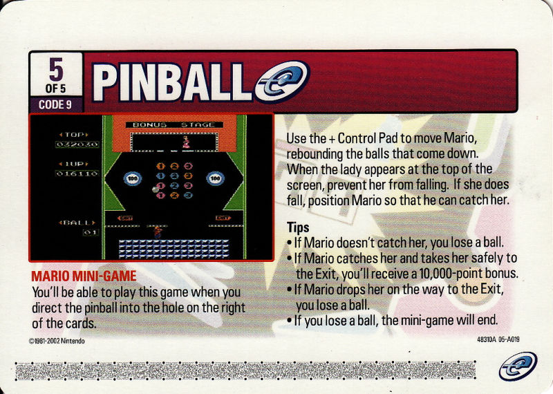 Pinball Game Boy Advance Media e-Card 5 - Front