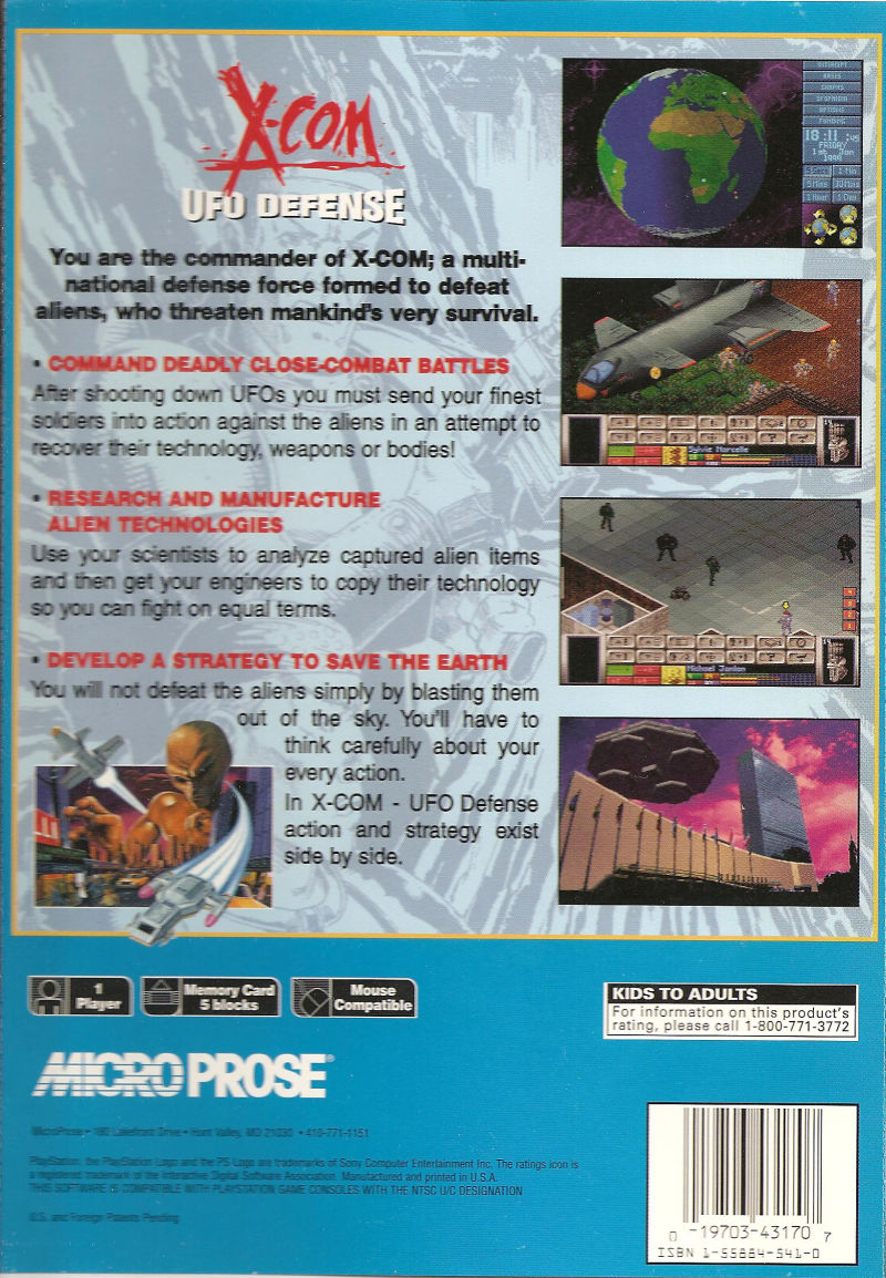 X-COM: UFO Defense PlayStation Back Cover