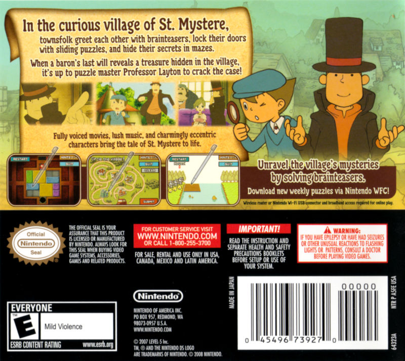 Professor Layton and the Curious Village Nintendo DS Back Cover