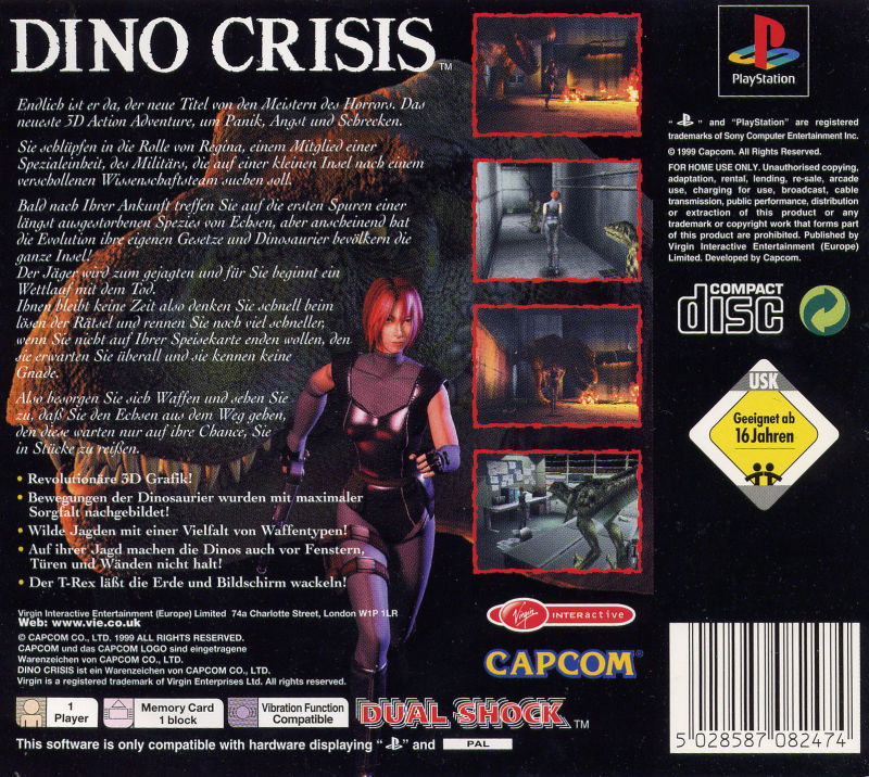 Dino Crisis PlayStation Back Cover