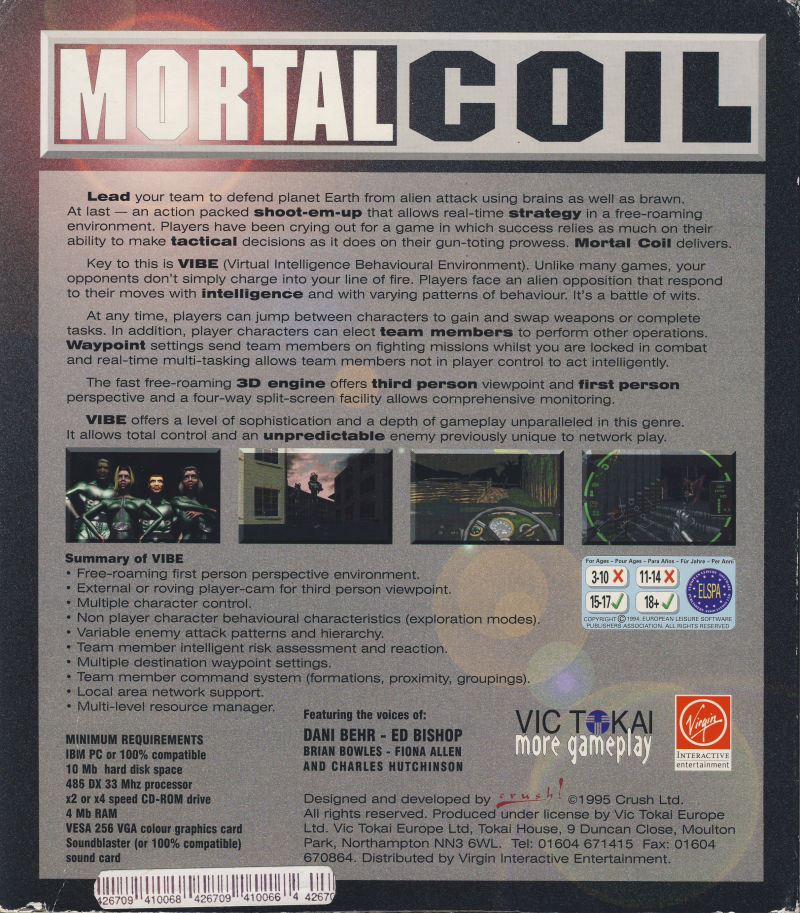 Mortal Coil: Adrenalin Intelligence DOS Back Cover