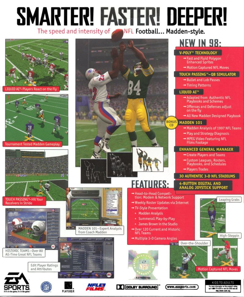 Madden NFL 98 Windows Back Cover