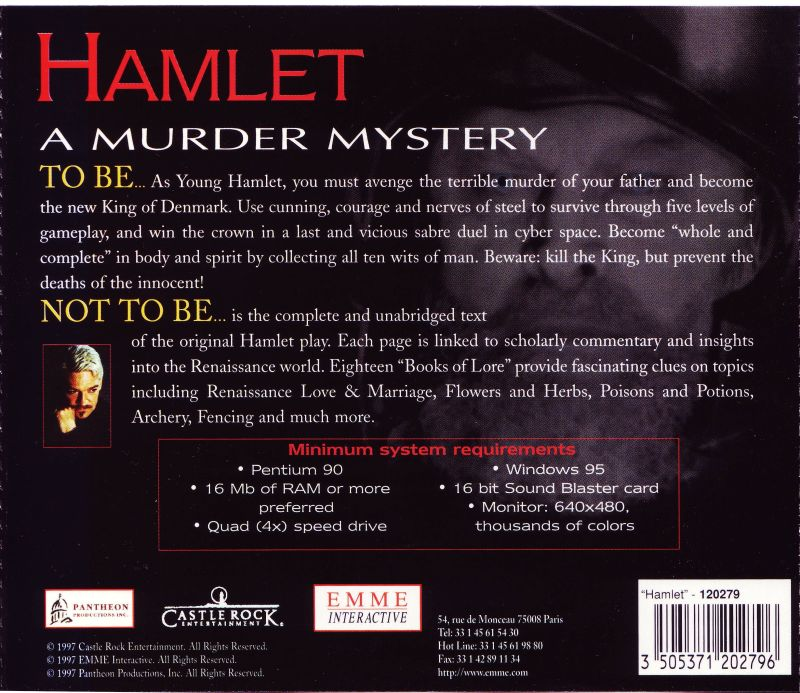 William Shakespeare's Hamlet: A Murder Mystery Windows Other Jewel Case Back