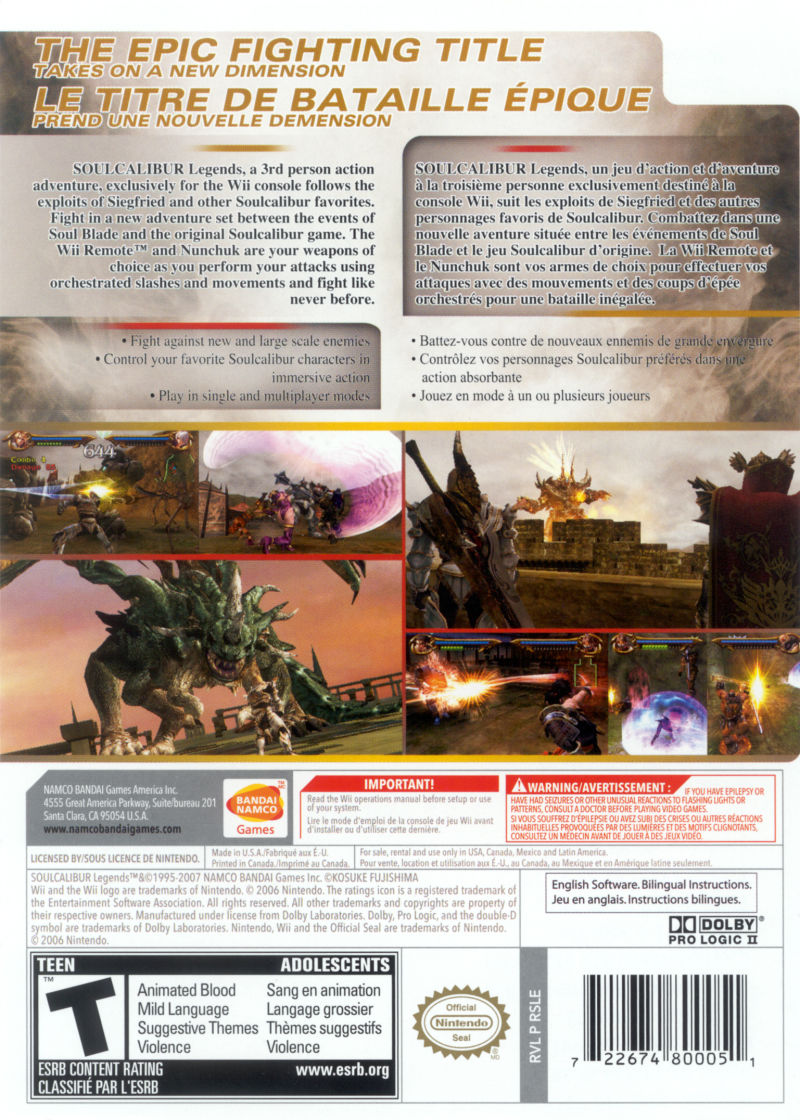 Soulcalibur Legends Wii Back Cover
