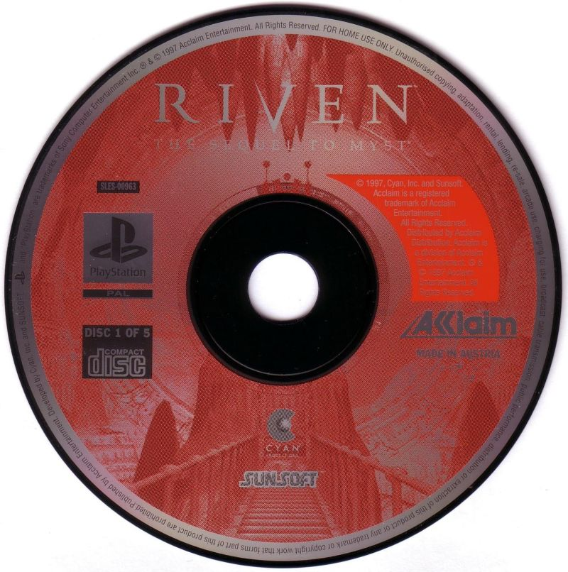 Riven: The Sequel to Myst PlayStation Media Disc 1