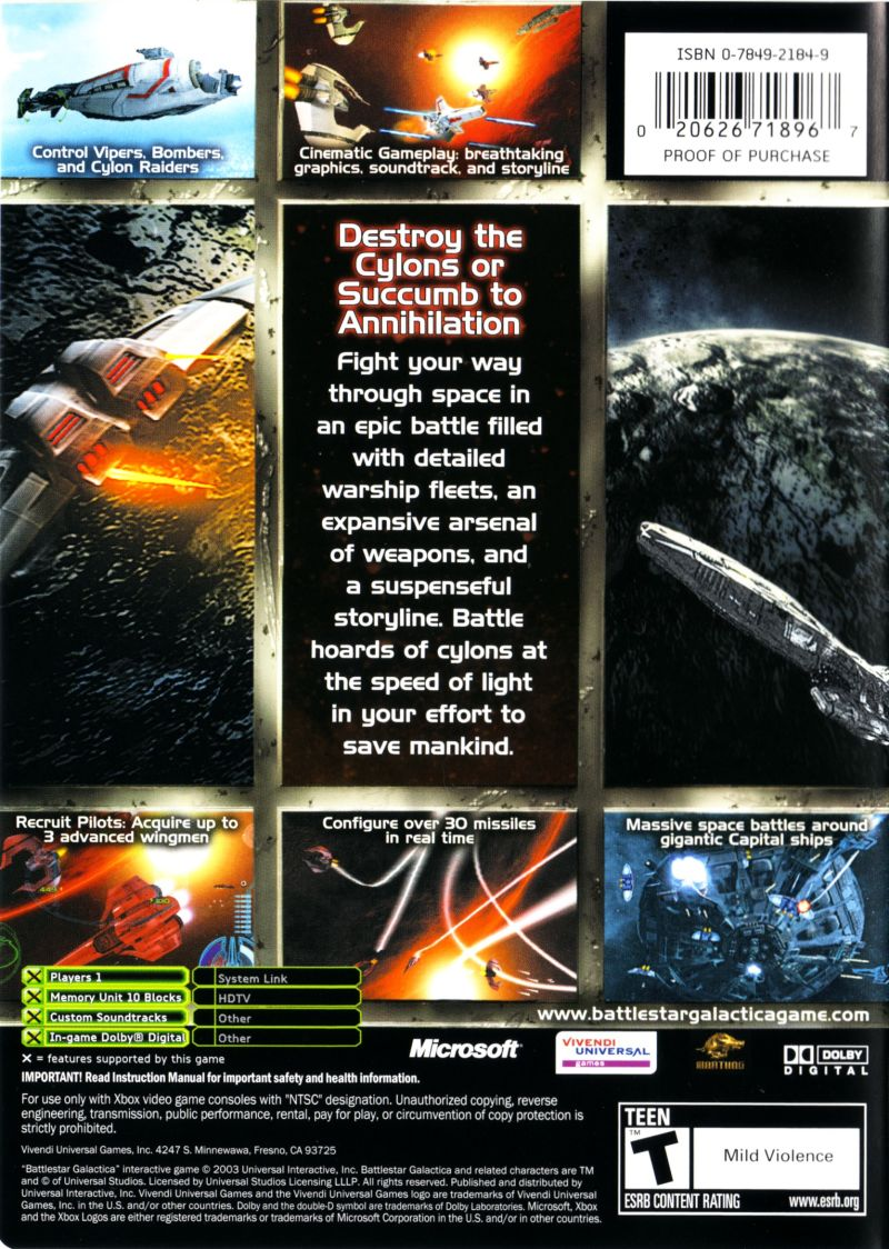 Battlestar Galactica Xbox Back Cover