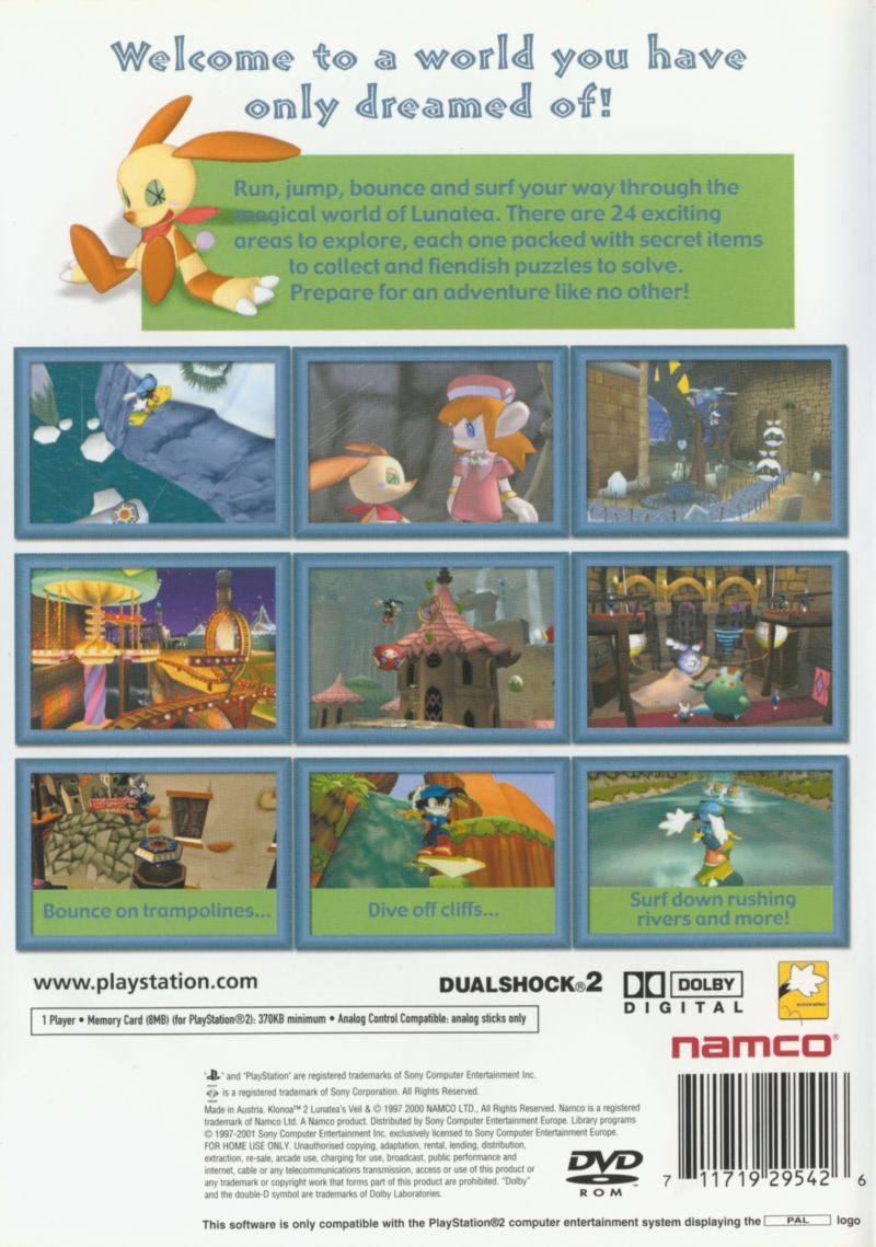 Klonoa 2: Lunatea's Veil PlayStation 2 Back Cover