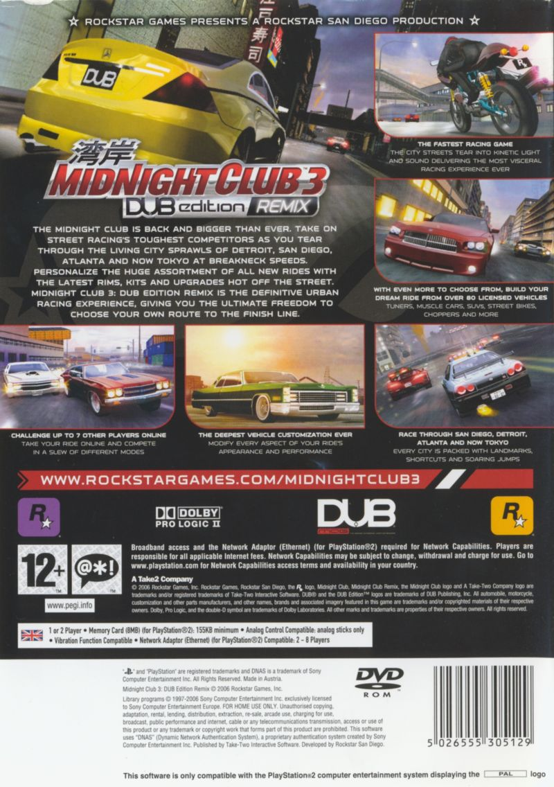 Midnight Club 3: DUB Edition Remix PlayStation 2 Back Cover