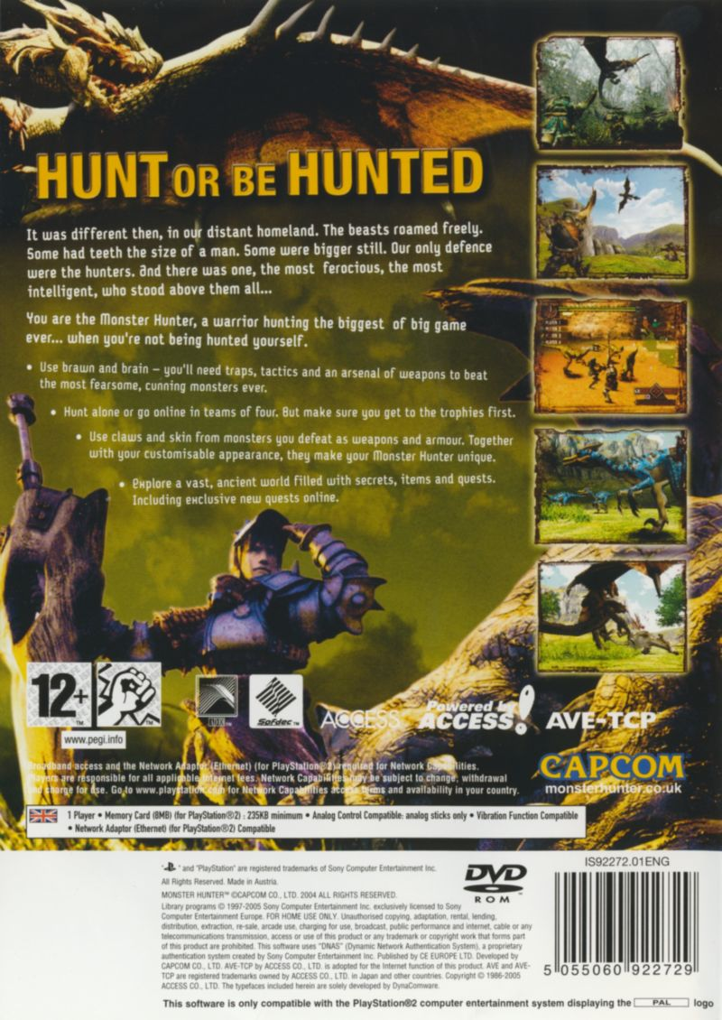 Monster Hunter PlayStation 2 Back Cover