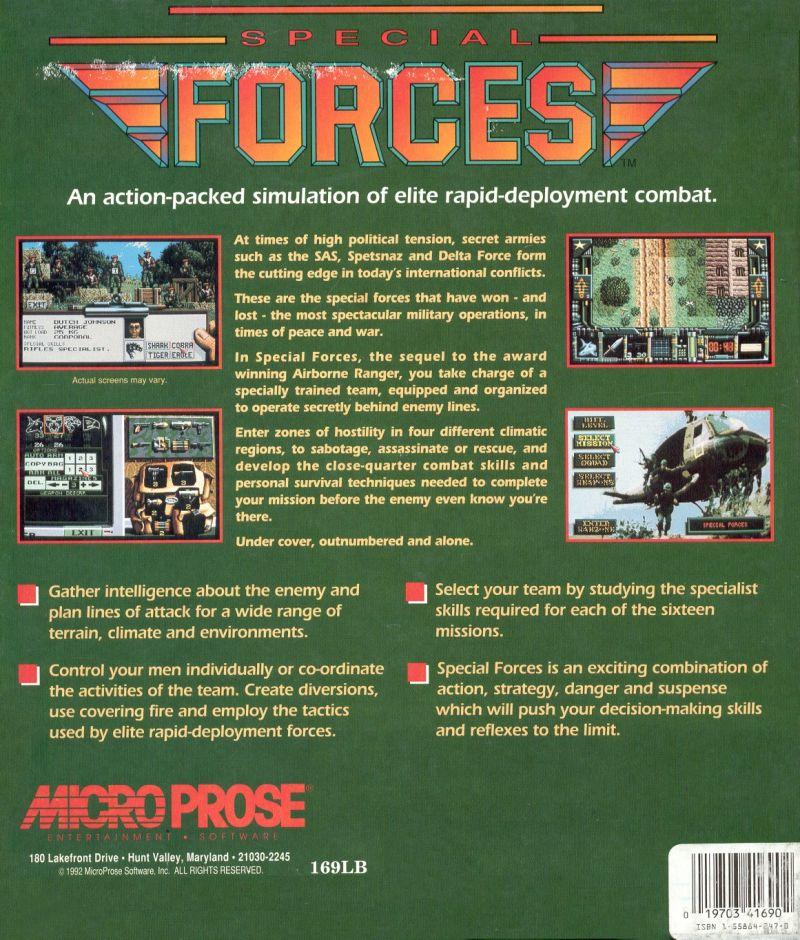Special Forces DOS Back Cover