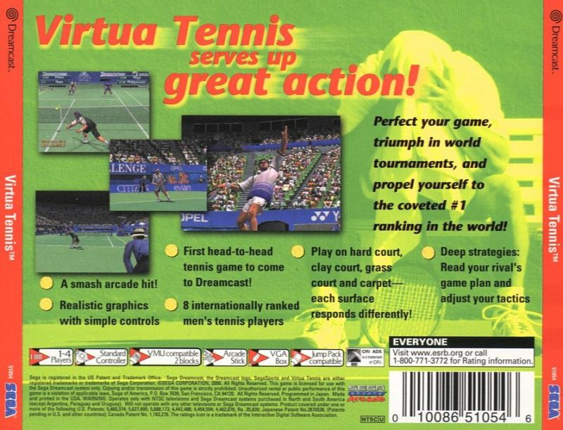 Virtua Tennis Dreamcast Back Cover