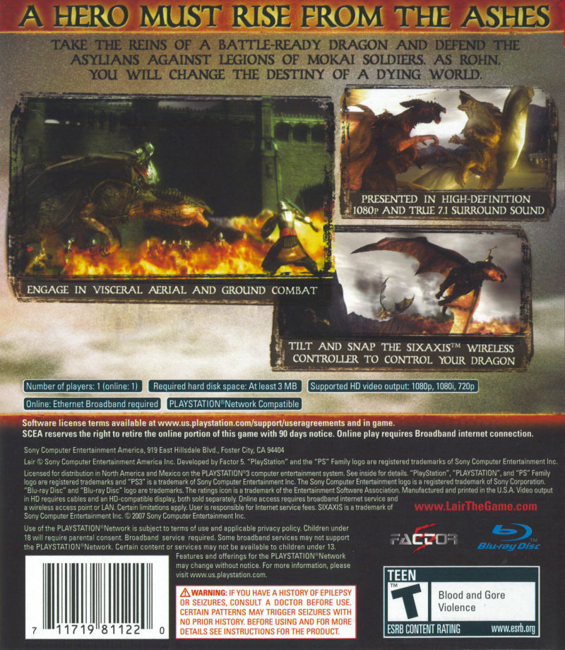 Lair PlayStation 3 Back Cover