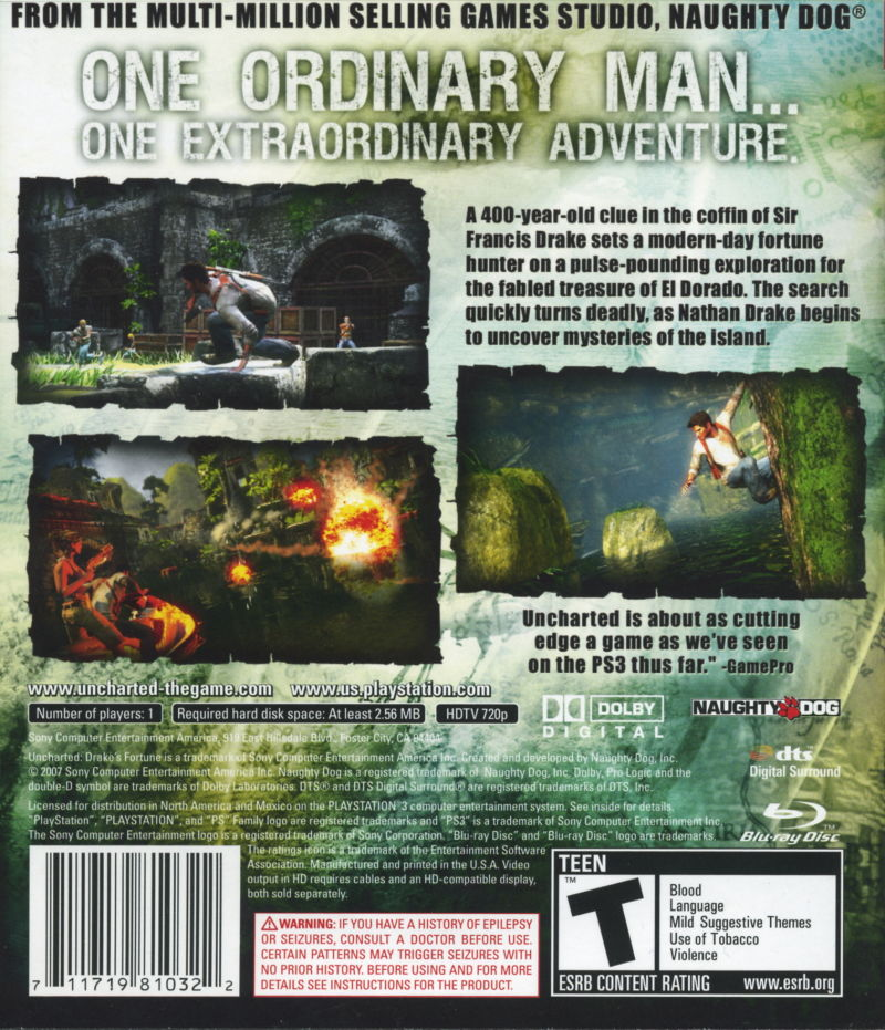 Uncharted: Drake's Fortune PlayStation 3 Back Cover
