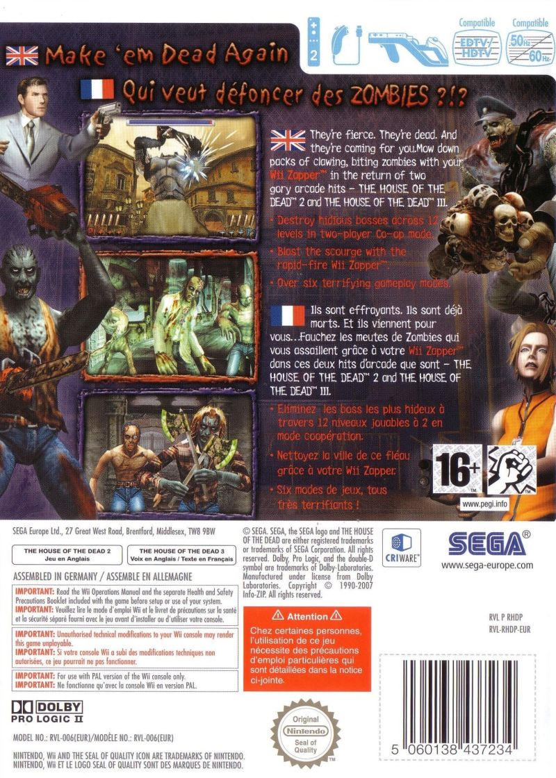 The House Of The Dead 2 3 Return 2008 Wii Box Cover Art