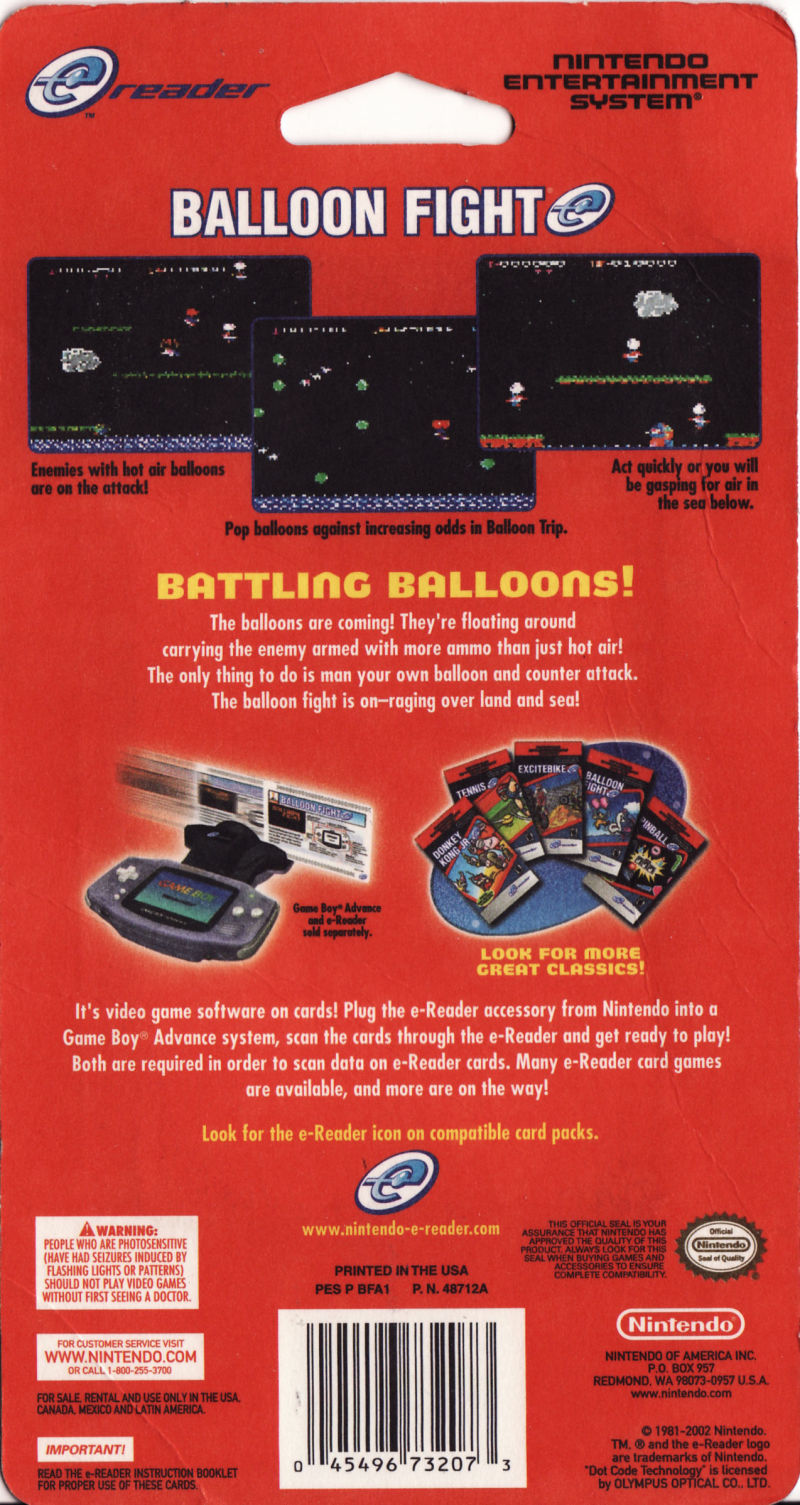 Balloon Fight Game Boy Advance Back Cover