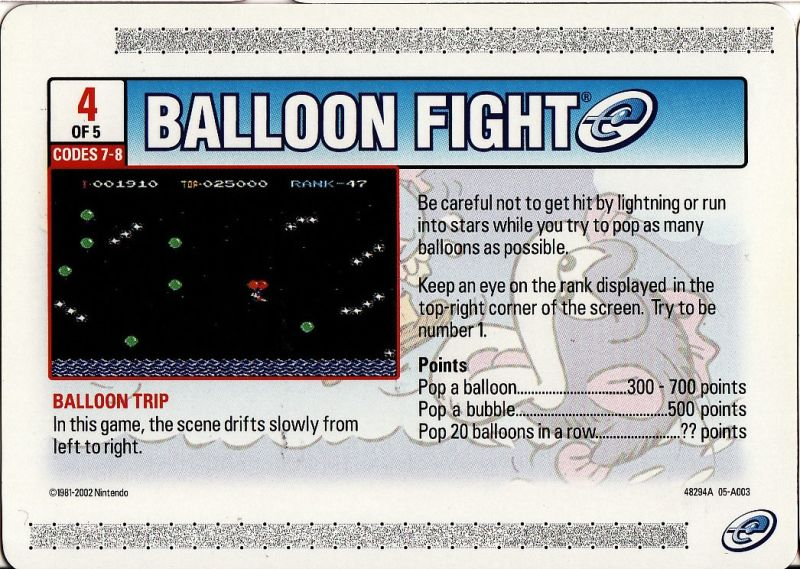 Balloon Fight Game Boy Advance Media e-Card 4 - Front