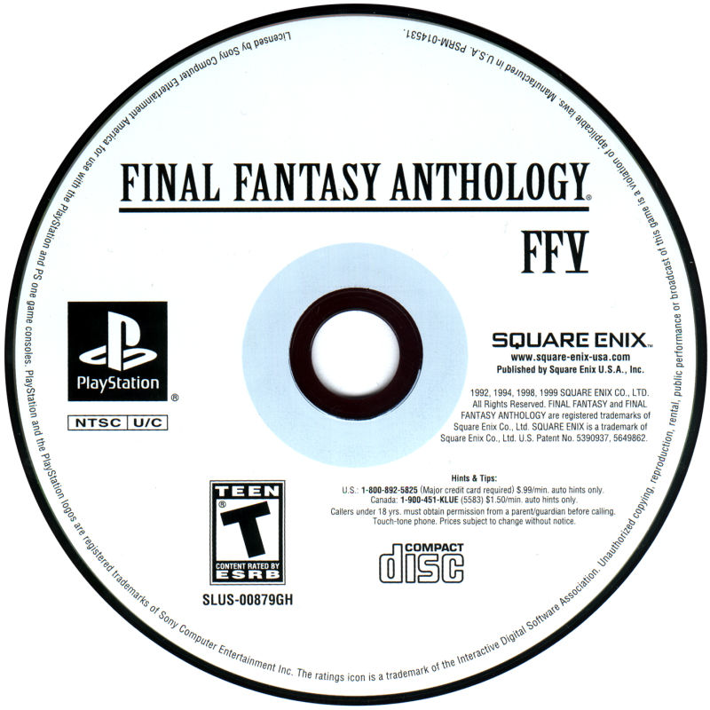 Final Fantasy Anthology PlayStation Media Final Fantasy V Disc