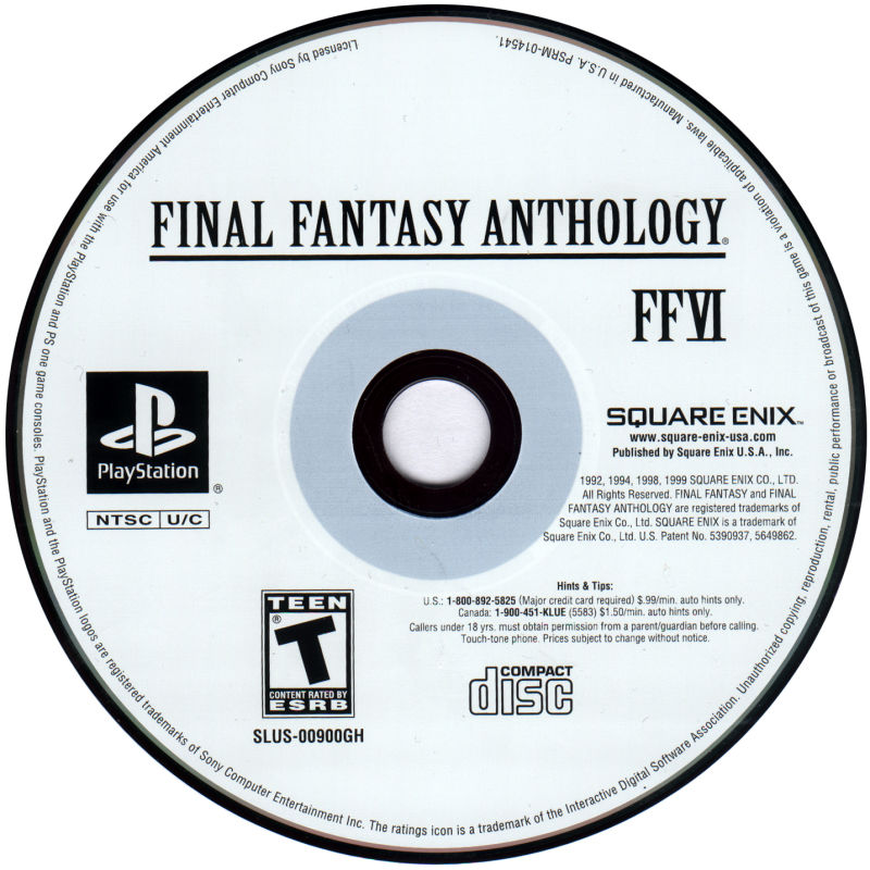 Final Fantasy Anthology PlayStation Media Final Fantasy VI Disc