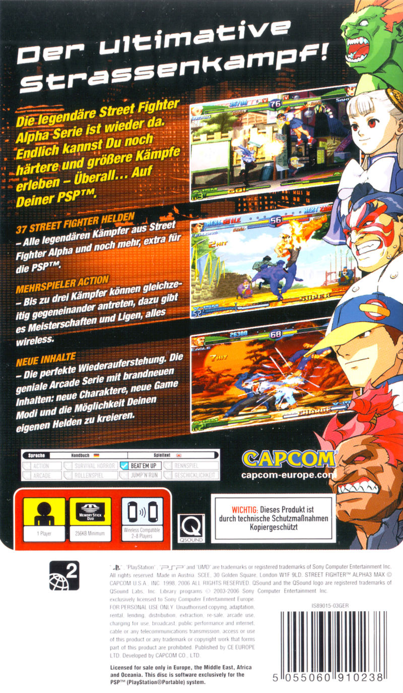 Street Fighter Alpha 3 MAX PSP Back Cover