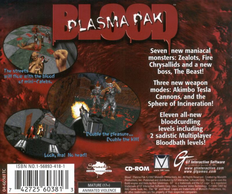 Blood: Plasma Pak DOS Other Jewel Case - Back