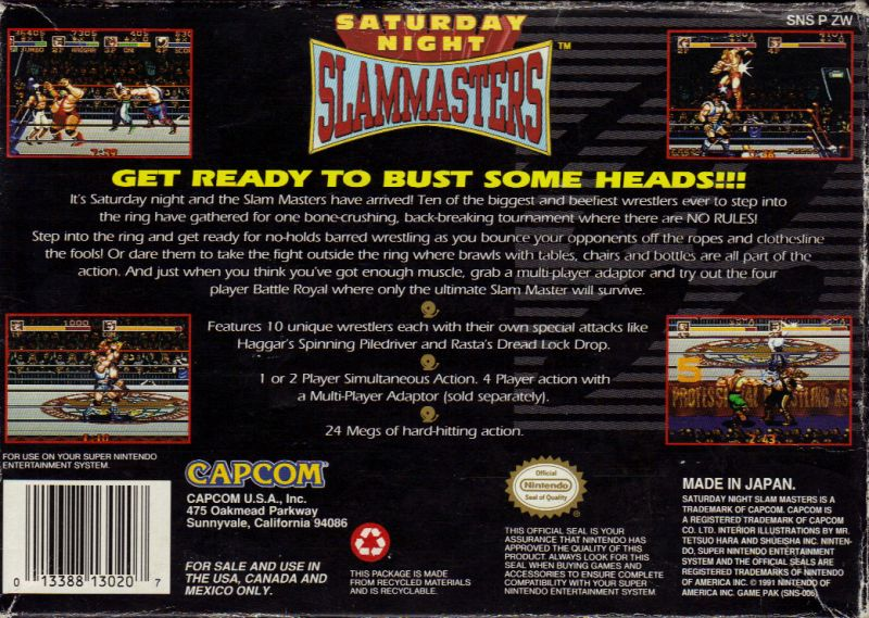 Saturday Night Slam Masters SNES Back Cover
