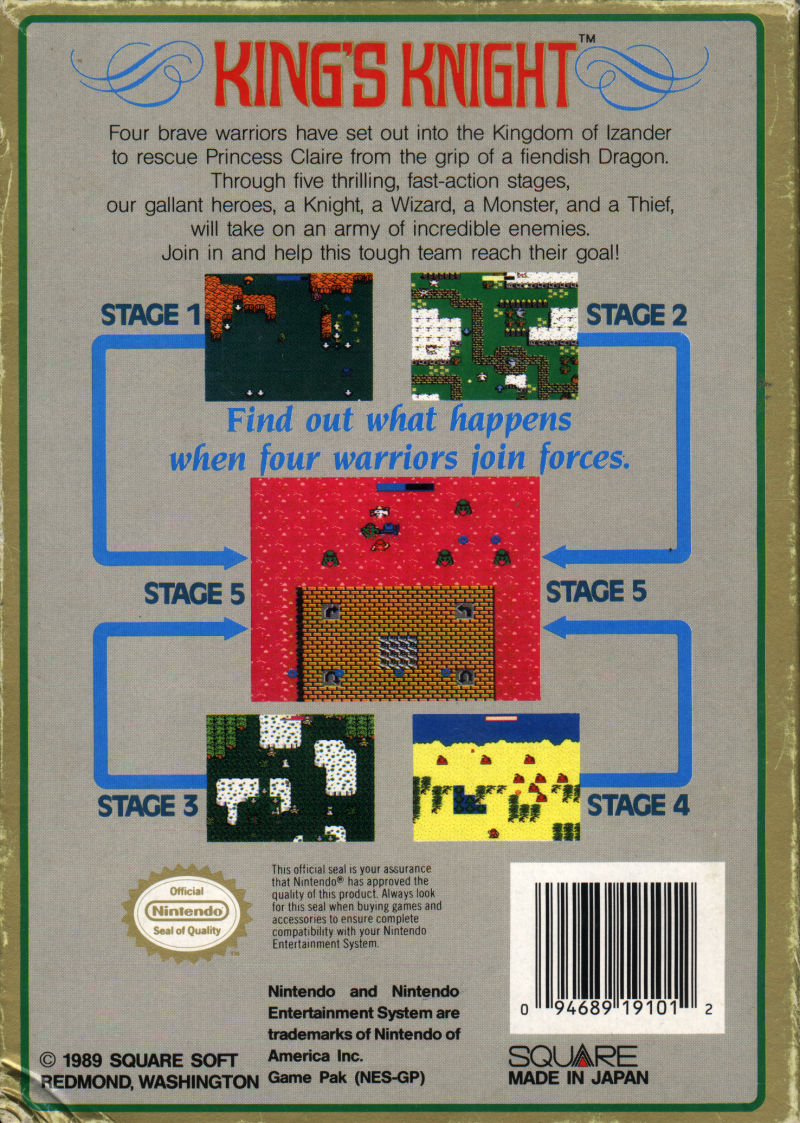 King's Knight NES Back Cover