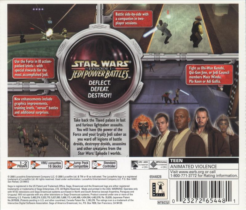 Star Wars: Episode I - Jedi Power Battles Dreamcast Back Cover