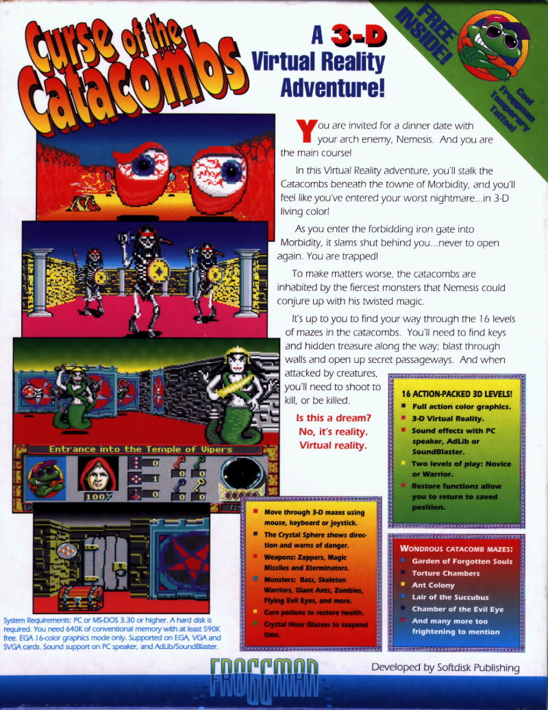 Curse of the Catacombs DOS Back Cover