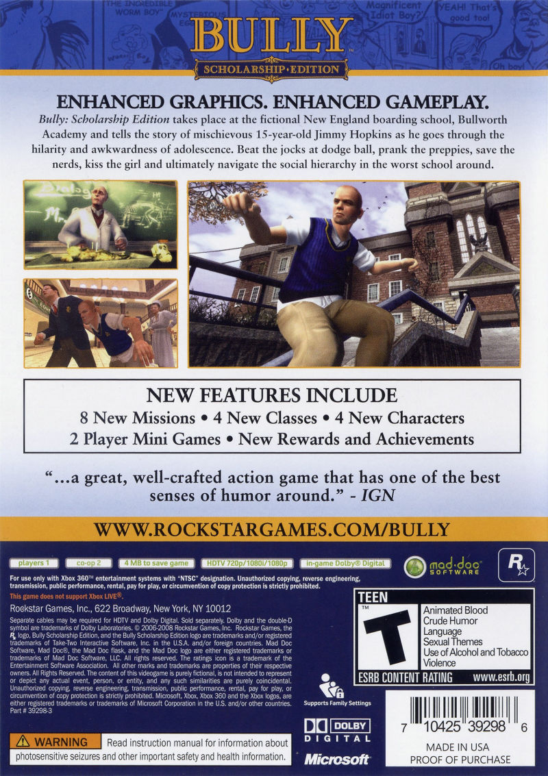 Bully: Scholarship Edition Xbox 360 Back Cover