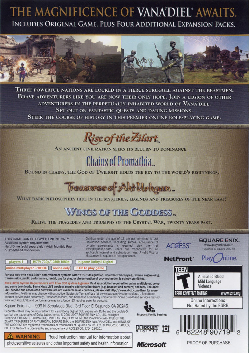 Final Fantasy XI Online: Vana'Diel Collection 2008 Xbox 360 Back Cover