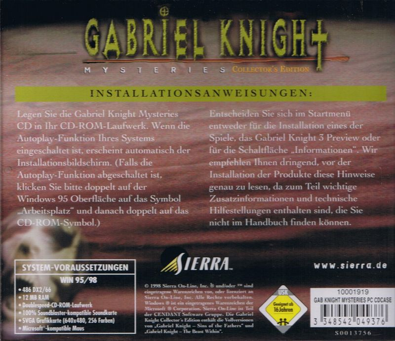 Gabriel Knight Mysteries: Limited Edition DOS Other Sins of the Fathers - Jewel Case - Back