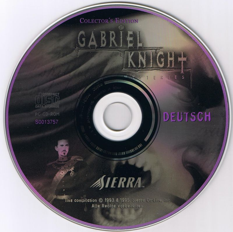 Gabriel Knight Mysteries: Limited Edition DOS Media Sins of the Fathers disc