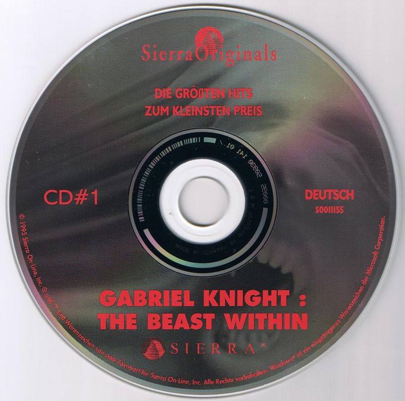 Gabriel Knight Mysteries: Limited Edition DOS Media The Beast Within Disc 1