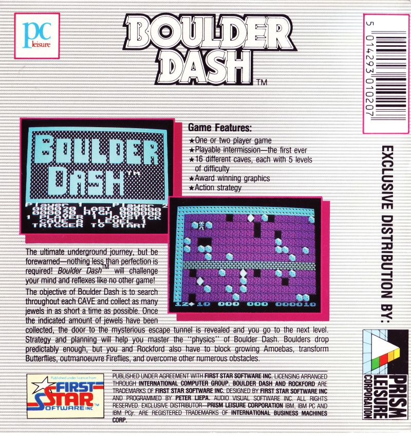 Boulder Dash PC Booter Back Cover